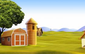 三維夏日農場動畫場景展示HD兒童卡通背景視頻