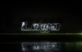光線LOGO標志展示炫黑背景倒影效果AE模板