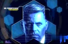 科幻界面 HUD蓝色空间感圆环转动图像扫描AE模板