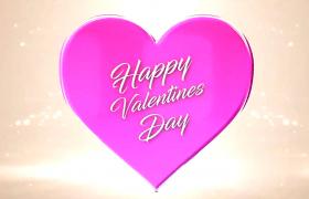 標志展示七夕情人節愛心照片翻動浪漫粒子背景揭示AE模板
