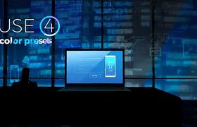商务笔记本投屏展示夜晚玻璃上的数据变化科技片头AE模板
