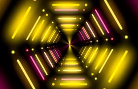线条灯管七彩闪烁六边形空间隧道穿梭动感舞台VJ视频素材