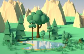 低面多边形卡通山脉天然湖泊全景灯光效果C4D工程模型下载