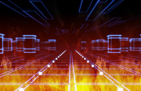 热力全开线条描绘通道前行动感舞台LED视频素材