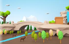 儿童卡通画风郊外自然和谐共生美景C4D场景模型low poly(含贴图)