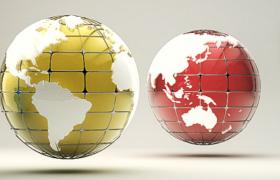 凸面网格状经纬设计3D球形立体地球模型展示(含贴图)