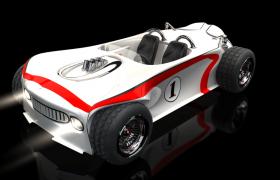 传奇一号白色赛车高品质敞篷两座汽车3D模型Race Car(含长景海报宣传贴图)
