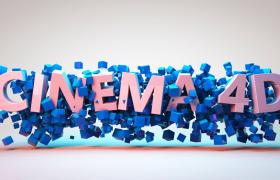 唯美蓝色方格填充CINEMA4D卡通文字徽标C4D主题网站宣传模型