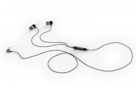 3.5mm入耳式黑色按键有限耳机手机数码电子产品设备C4D模型