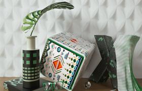 綠色簡約商務風室內裝飾造型布局精美物品陳設家裝工裝C4D工程模型