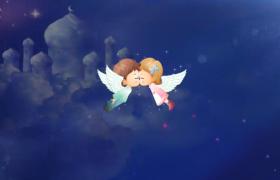 情侶天使夜空云層中親吻西式情人節動畫視頻素材