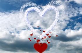 夢幻云層千變萬化紅色愛心甜蜜溢出HD情人節視頻背景
