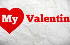 情人節愛意表達紅色愛心文字動畫排版布局AE模板