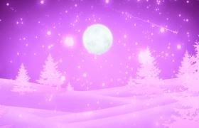 唯美浪漫紫色夢幻雪花月色舞臺led背景情人節表白視頻素材