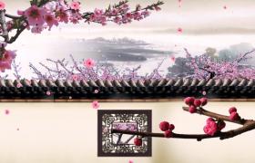 水墨山水意境古风院墙背景粉色花朵凋零HD特效视频素材