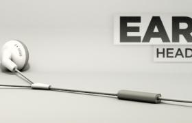 手機電子產品配件宣傳廣告插孔式耳麥手機外設C4D模型(含長景廣告貼圖)