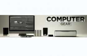 液晶屏显示器电脑及打印机办公电子设备C4D模型(含贴图)