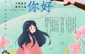春天你好美麗少女卡通繪圖設計春季平面宣傳海報