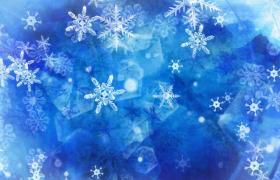 蓝色冰晶雪花唯美飘落(无音乐)梦幻高清视频背景素材