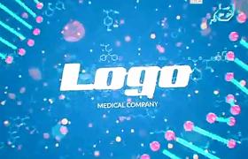 藍色科技標志logo動畫火柴DNA樣式旋轉醫療生物學AE模板