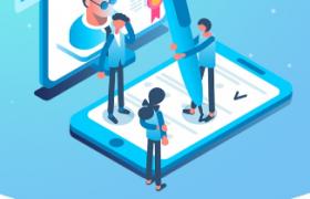 蓝色现代科技风创意卡通智能学习图案线上教学平面宣传海报
