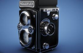 折合式相机时代6x9底片规格禄来福来rolleiflex复古照相机C4D模型