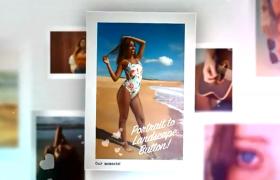 清爽夏日陪伴之行照片錯位圖集排版設計展示AE模板