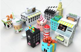 13款创意性卡通布局日常物品改编设计C4D房屋建筑模型