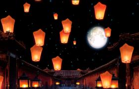 孔明灯无缝循环漂浮上升LED背景视频高清晚会背景视频素材