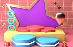 粉色方格卡通背景布局动画舞台栏目包装C4D模型(含贴图)