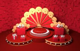 红色大礼包电商促销福利活动C4D场景app宣传广告模型