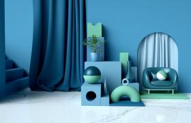 蓝色简约布艺背景设计家居室内装饰摆件C4D模型(含材质贴图)