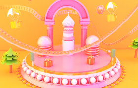 C4D球體克隆對象場景建模夢幻卡通城堡兒童樂園動畫模型(oc渲染)