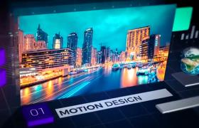科技感城市图文展示现代商务内容介绍光束闪烁效果AE模板