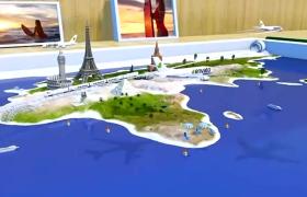 三維夏日海灘旅游航空宣傳動畫展示藍色主題AE模板