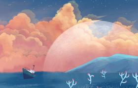 海洋云端美轮美奂创意动态画面MP4特效视频素材