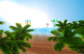 海滩椰树随风唯美晃动清凉一夏高清MG动画视频素材