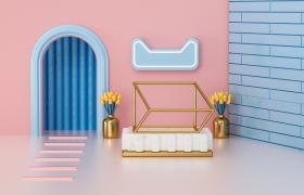 天猫app购物狂欢节电商促销活动卡通唯美场景C4D工程渲染模型