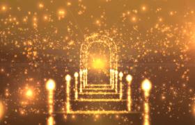 黄金粒子炫丽舞台汇聚4k特效舞台背景视频