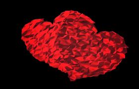 两颗红色几何爱心跳动浪漫爱情氛围HD视频素材下载
