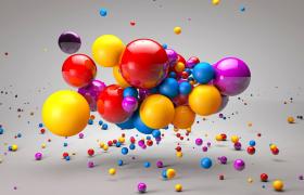 七彩泡泡球卡通3D动画转场效果设计C4D场景模型(含长效动画)