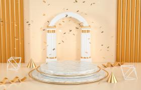 大理石拱门设计高品质电商活动促销宣传场景C4D模型(含贴图)