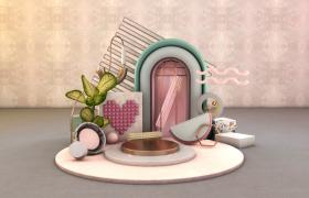 唯美家居擺件3D室內場景設計電商aap活動廣告場景C4D工程預設