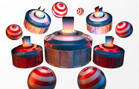 七彩卡通球体对象动画效果3D场景转场包装制作C4D工程渲染模型