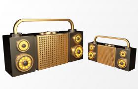 C4D電子音樂播放器手提式復古擴音音響模型展示(含貼圖)