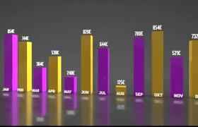 三维立体紫金饼状柱状商务数据统计表展示AE模板