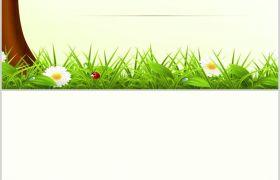 自然清新绿叶草丛唯美初春PPT背景图片素材