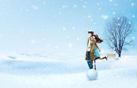 雪地中浪漫的情侶動畫圖PPT背景圖片素材