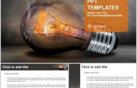 炽热灯泡创意科技演绎大气PPT背景图片素材