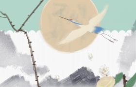仙鹤花枝水墨古韵设计惊蛰节气平面宣传海报